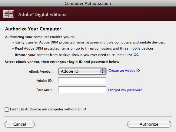 screen shot of adobe digital editions authorization page